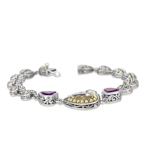 Amethyst and Pink Tourmaline Sterling Silver Heart Bracelet with 18K Gold Accents