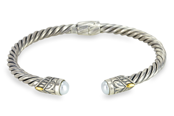 Pearl Sterling Silver Twisted Cable Bangle with 18K Gold Accents