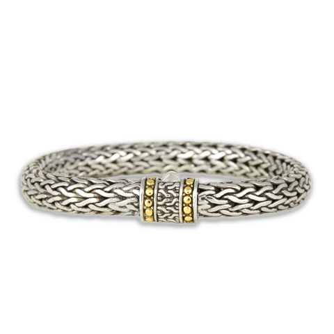 Sterling Silver Tulang Naga Woven Bracelet with 18K Gold Accents