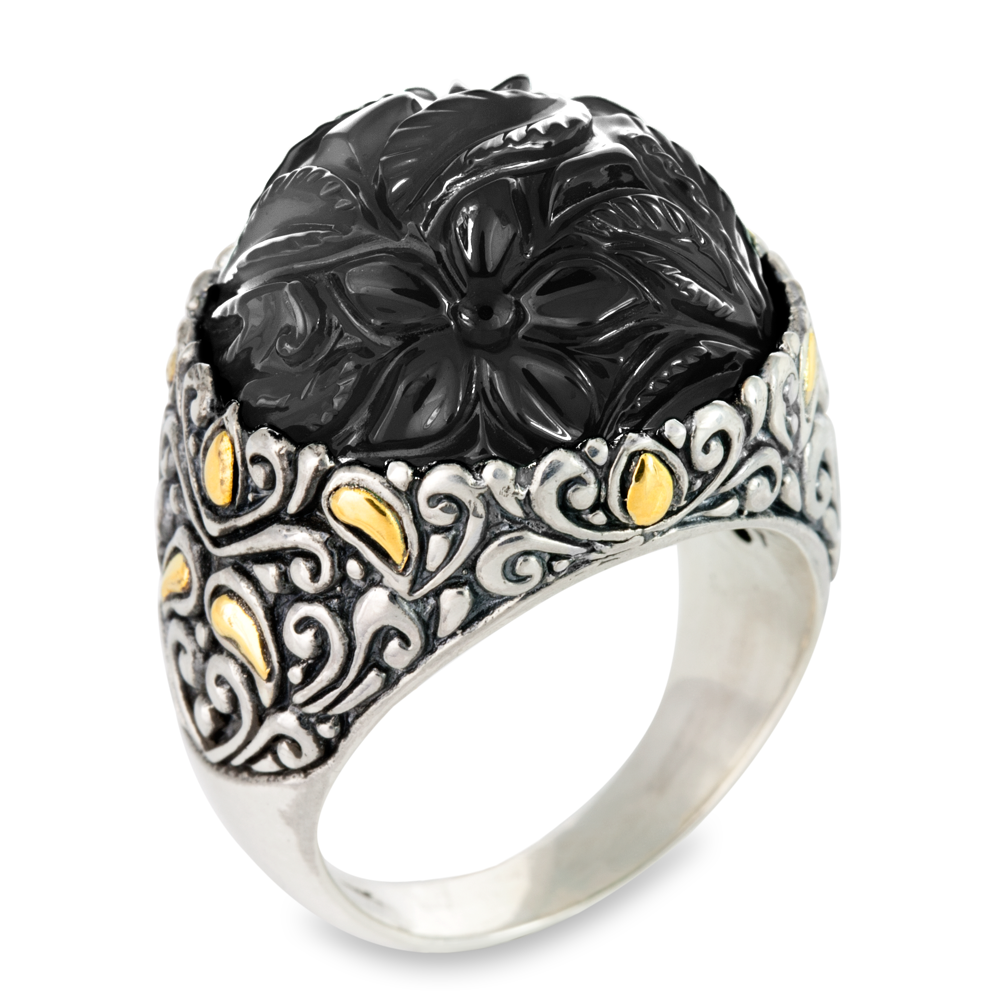 "Carved Black Onyx Ring Set in Sterling Silver & 18K Gold Accents ""Natalia"""
