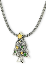 Silver with Gold Accents Necklace with Tsavorite