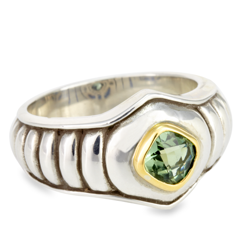 Silver with Gold Accents Ring with Green Quartz