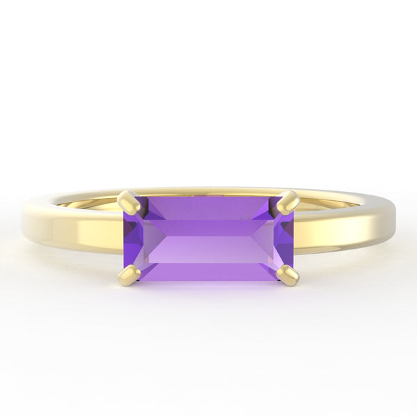 Amethyst Baguette 14K Yellow Gold Ring