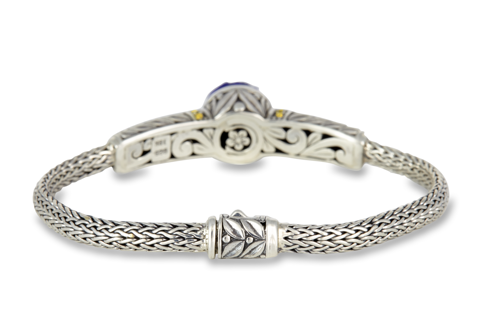 Carved Lapis Sterling Silver Woven Bracelett with 18K Gold Accents