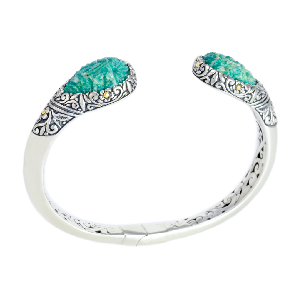 Carved Amazonite Sterling Silver Bangle with 18K Gold Accents