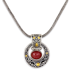 Pink Tourmaline Sterling Silver Necklace with 18K Gold Accents