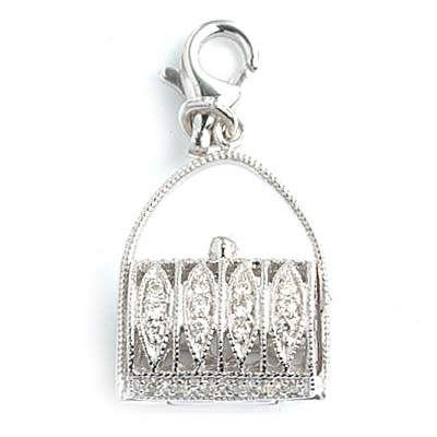 Diamond Purse Charm Set in 18K White Gold