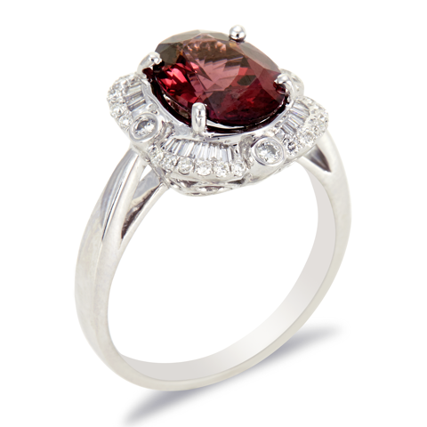 14K White Gold Diamond and Rhodolite Garnet Ring