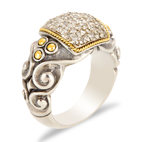 Sterling Silver Diamond Ring with 18K Gold Accents
