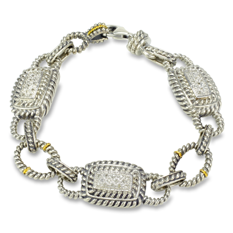 Diamond Sterling Silver Bracelet with 18K Gold Accents