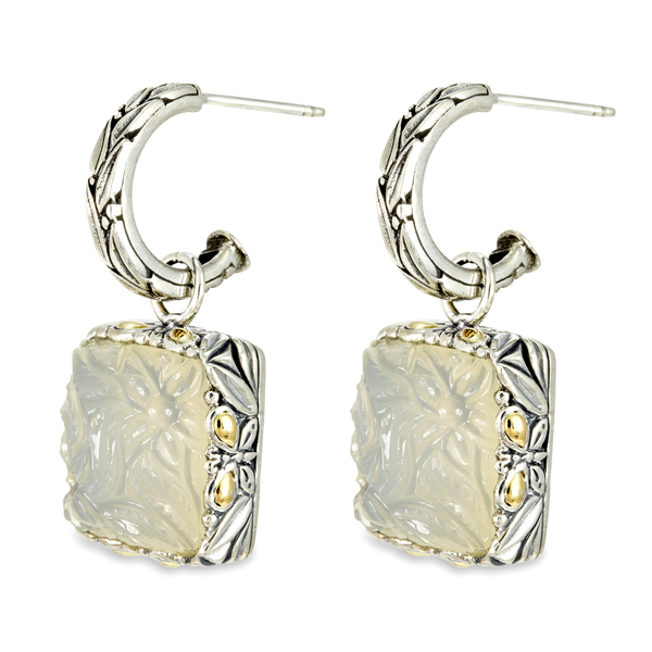 "White Agate Drop Earrings Carved Set in Sterling Silver & 18K Gold Accents ""Gwen"""