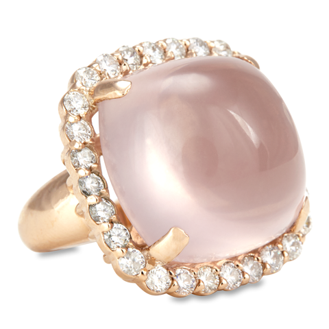 "14K Rose Gold Diamond and Rose Quartz Ring ""Aviva"""