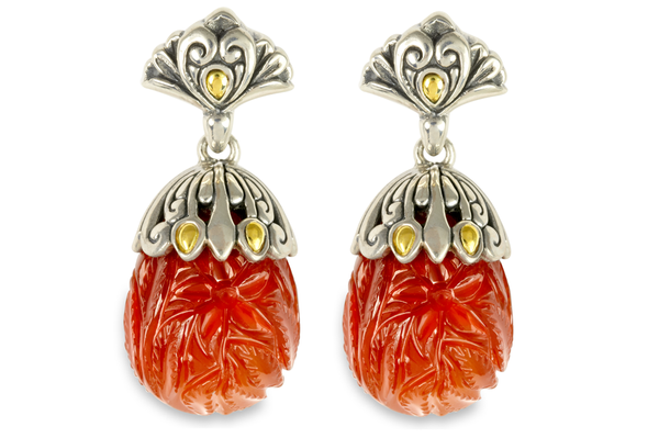 Carved Carnelian Sterling Silver Earrings with 18K Gold Accents