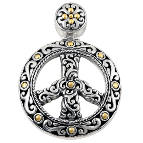 """Peace Sign"" Pendant Set in Sterling Silver & 18K Gold Accents"