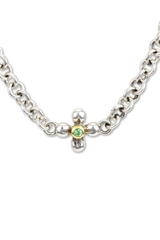Tsavorite Necklace Set in Sterling Silver & 18K Gold Accents