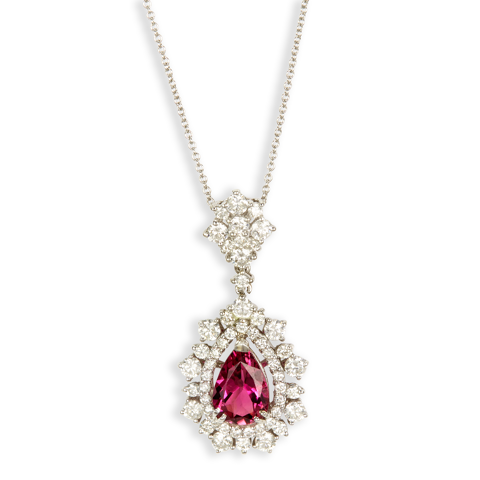 "14K White Gold Diamond and Pink Tourmaline Necklace ""Wila"""