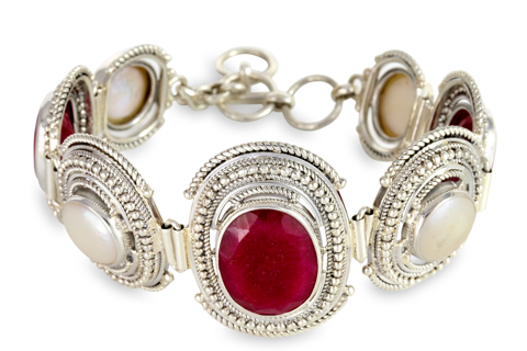 Ruby and Pearl Bracelet Set in Sterling Silver