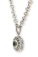 Green Amethyst Sterling Silver Necklace with 18K Gold Accents