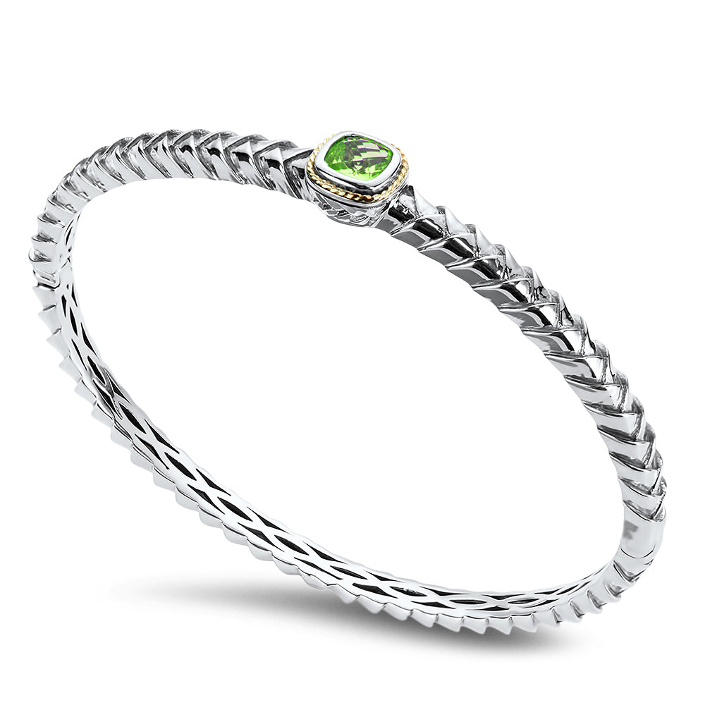 Peridot Sterling Silver Bangle with 18K Gold Accents