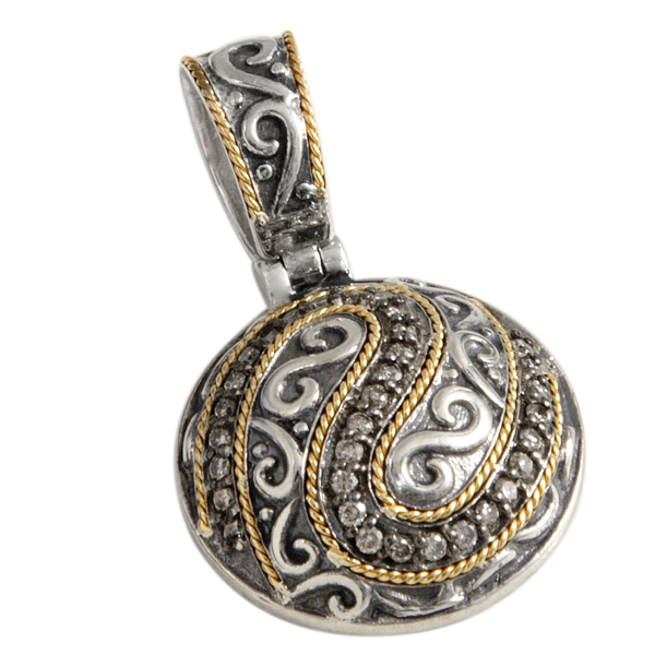 Brown Diamond Pendant Set in Sterling Silver & 18K Gold Accents