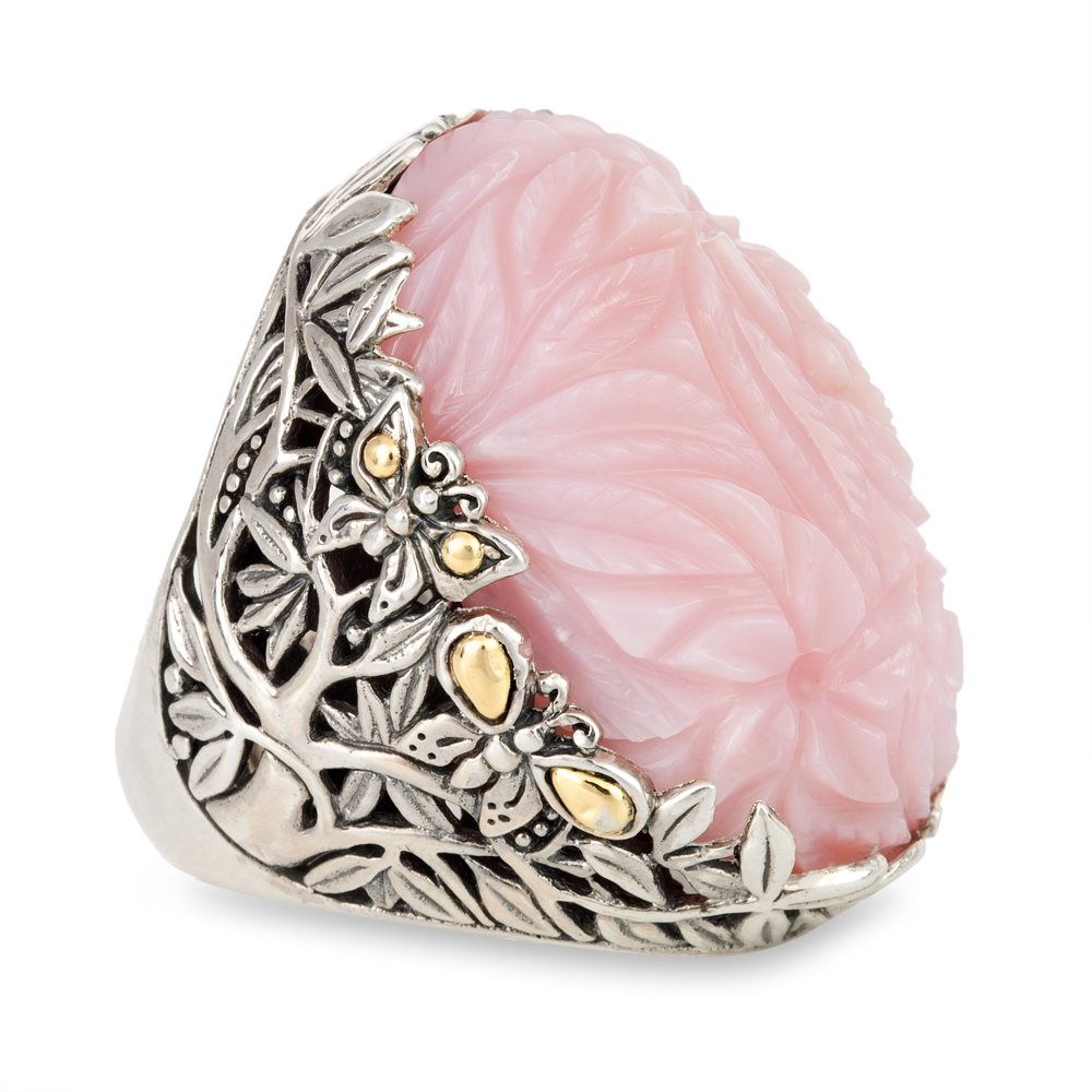 Carved Pink Opal Sterling Silver Ring with 18K Gold Accents
