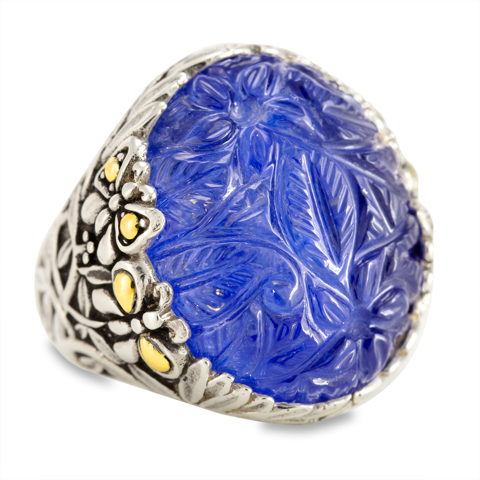 "Carved Lapis Ring Set in Sterling Silver & 18K Gold Accents ""Melanie"""