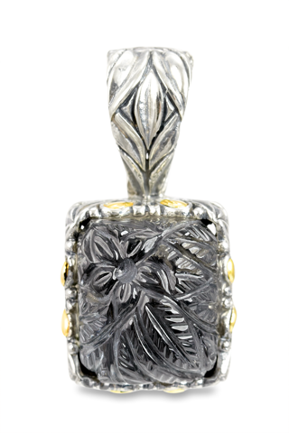 "Carved Hematite and White Crystal Doublet Pendant Set in Sterling Silver & 18K Gold Accents ""Gwen"""