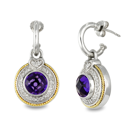 Diamond and Amethyst Sterling Silver Drop Earrings with 18K Gold Accents