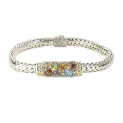 Multi Gemstone Sterling Silver Woven Bracelet with 18K Gold Accents