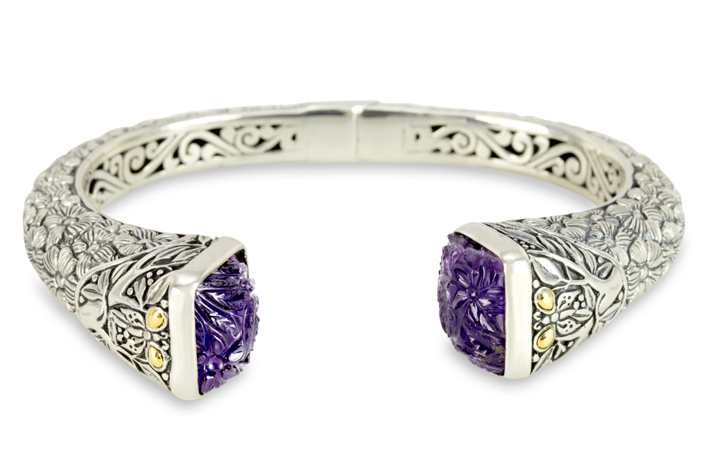 Carved Amethyst Sterling Silver Bangle with 18K Gold Accents