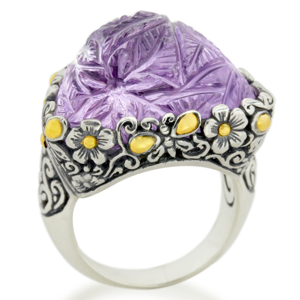 Carved Pink Amethyst Sterling Silver Ring with 18K Gold Accents