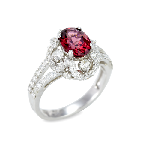 14K White Gold Diamond and Cherry Garnet Ring