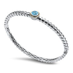 Blue Topaz Sterling Silver Bangle with 18K Gold Accents