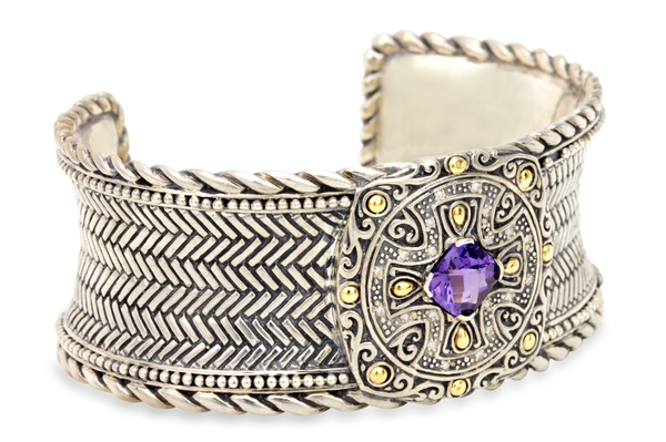 Amethyst Sterling Silver Cuff Bracelet with 18K Gold Accents