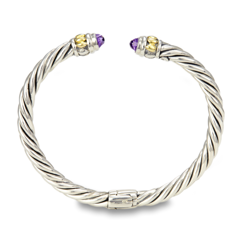 Amethyst Sterling Silver Twisted Cable Bangle with 18K Gold Accents