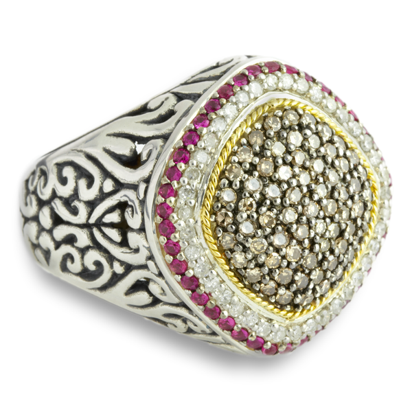 Black and White Diamond Sterling Silver Ring with Pink Sapphire and 18K Gold Accents