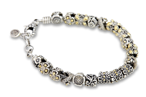 Diamond Sterling Silver Charm Bracelet with 18K Gold Accents
