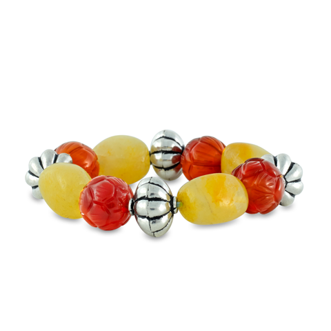Carnelian and Jade Sterling Silver Beaded Bracelet