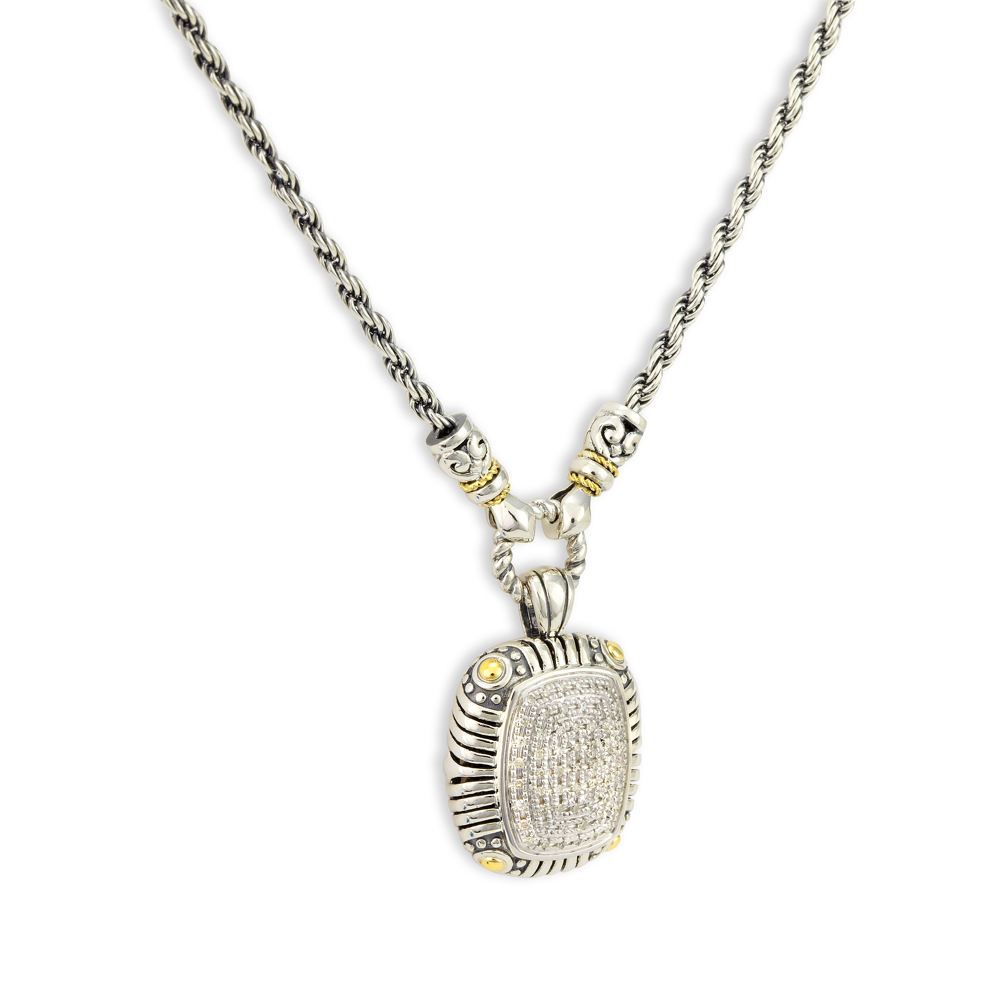 Diamond Sterling Silver Necklace with 18K Gold Accents