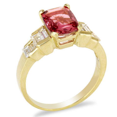 14K Gold Diamond and Pink Sapphire Ring