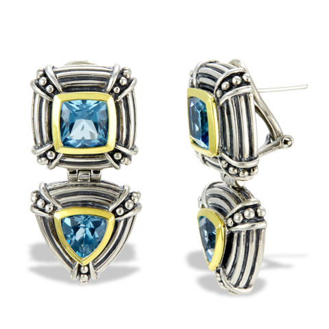 Sterling Silver Blue Topaz Earrings with 18K Gold Accents