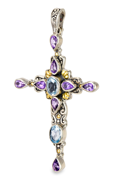 Blue Topaz & Amethyst Cross Pendant Set in Sterling Silver & 18K Gold Accents