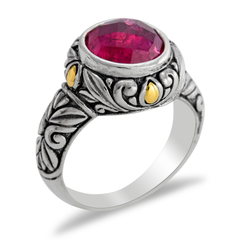 Pink Tourmaline Sterling Silver Ring with 18K Gold Accents