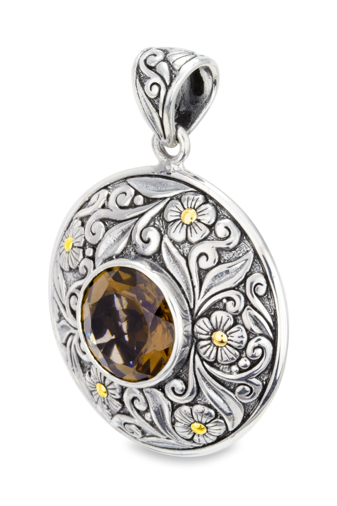 Smokey Quartz Sterling Silver Pendant with 18K Gold Accents