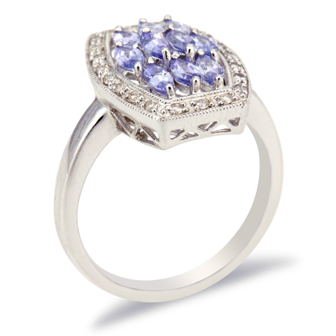 14K White Gold Diamond and Tanzanite Ring