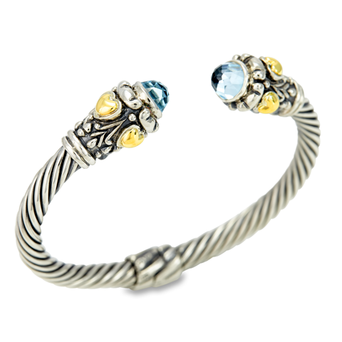 Blue Topaz Twisted Cable Bangle Set in Sterling Silver & 18K Gold Accents