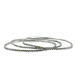 Sterling Silver Stackable Bangles with 18K Gold Accents