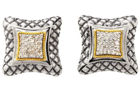 18K Gold and Diamond Accented Silver Earrings