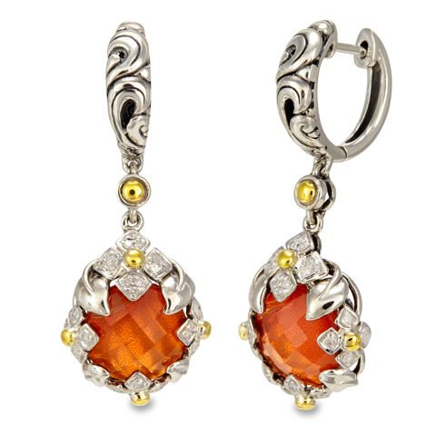 Diamond Accented Carnelian and White Crystal Doublet Sterling Silver Earrings with 18K Gold Accents
