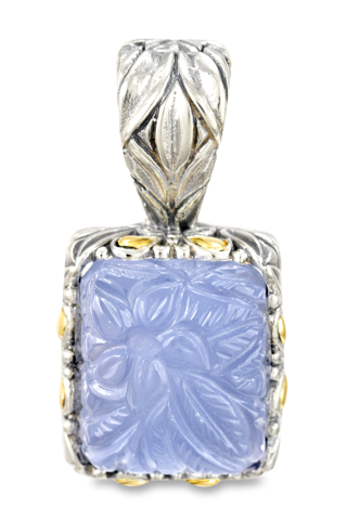"Carved Chalcedony Pendant Set in Sterling Silver & 18K Gold Accents ""Gwen"""